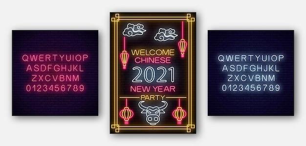 Cartaz do ano novo chinês touro branco 2021 em estilo neon com alfabeto. modelo de convite para festa.