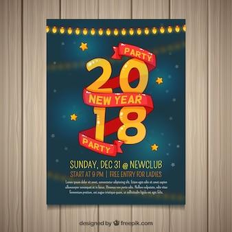 Cartaz do ano novo com estrelas e luzes de natal