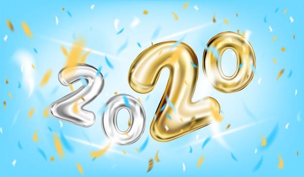 Cartaz do ano novo de 2020 no azul de céu