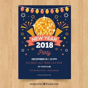 Cartaz do ano novo do partido com uma bola de discoteca e fogos de artifício