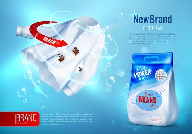 Cartaz do anúncio do detergente para a roupa