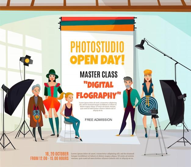 Cartaz do anúncio do estúdio da foto