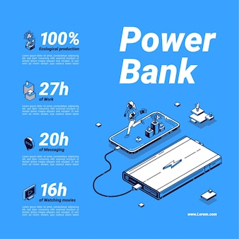 Cartaz do banco de potência. bateria externa, carregador portátil para celular e dispositivos digitais.