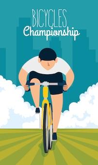 Cartaz do campeonato de bicicletas com homem em bicicleta