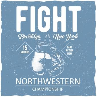 Cartaz do campeonato de boxe do noroeste