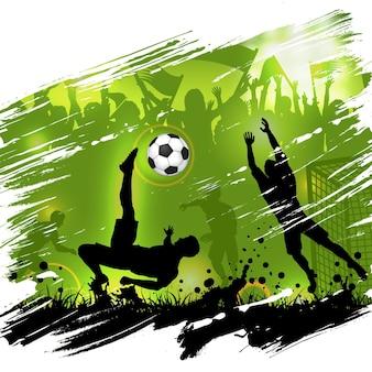Cartaz do campeonato de futebol com silhuetas de jogadores de futebol, bola de futebol e fãs de silhuetas, fundo grunge, ilustração vetorial