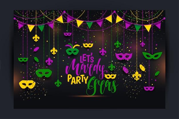 Cartaz do carnaval com uma máscara