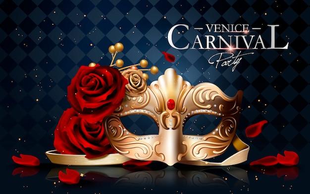 Cartaz do carnaval de veneza com máscara dourada