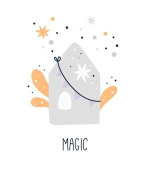 Cartaz do chá de bebê, casa bonita com estrelas, impressão infantil