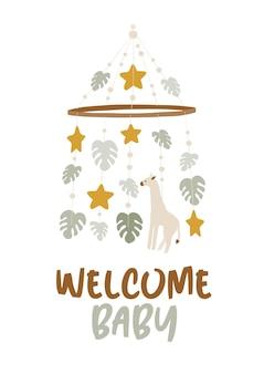 Cartaz do chá de bebê com texto de boas-vindas ao bebê