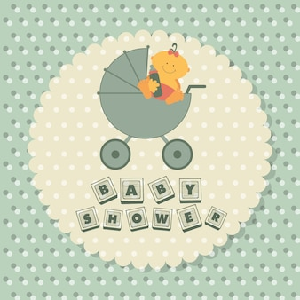 Cartaz do chuveiro do bebê Vetor Premium