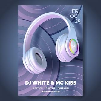 Cartaz do clube com fones de ouvido,