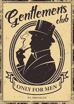 Cartaz do clube de cavalheiros vintage