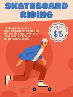 Cartaz do conceito de andar de skate.