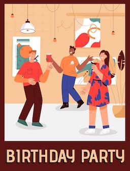 Cartaz do conceito de festa de aniversário em casa