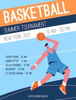 Cartaz do conceito de torneio de basquete de verão.