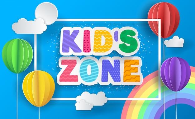 Cartaz do conceito de zona infantil. balões de papel.