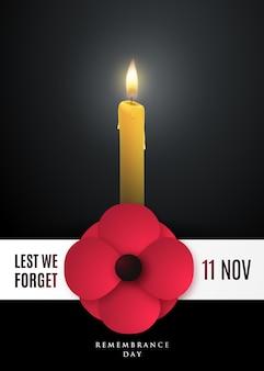 Cartaz do conceito do dia da lembrança com uma flor de papoula e uma vela acesa