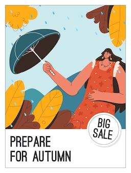 Cartaz do conceito prepare-se para o outono em grande venda