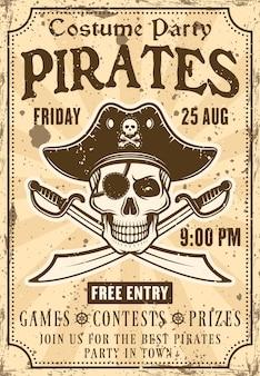 Cartaz do convite dos piratas para a festa à fantasia com uma caveira no chapéu e ilustração de sabres cruzados