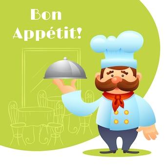 Cartaz do cozinheiro chefe com bandeja