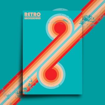 Cartaz do design retro com textura grunge vintage e listras torcidas coloridas. ilustração