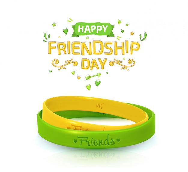 Cartaz do dia da amizade com duas pulseiras para melhores amigas
