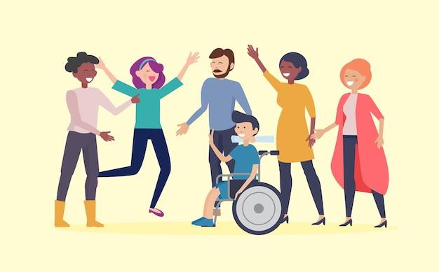 Cartaz do dia da deficiência. feliz homem com deficiência em cadeira de rodas e amigos. oportunidades iguais e adaptação social para o vetor de pessoas com necessidades especiais. ilustração deficiente em cadeira de rodas, homem com deficiência
