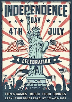 Cartaz do dia da independência com estátua