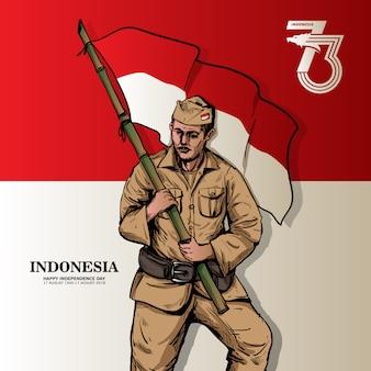 Cartaz do dia da independência indonésio