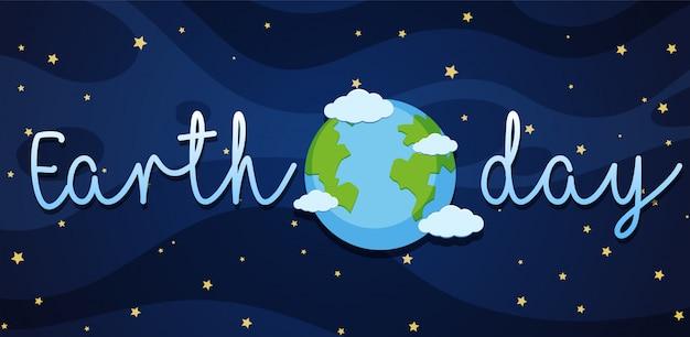 Cartaz do dia da terra com terra na galáxia