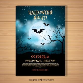 Cartaz do dia das bruxas com céu noturno realista