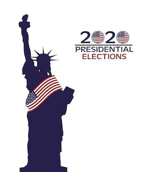 Cartaz do dia das eleições nos estados unidos com bandeira e estátua da liberdade