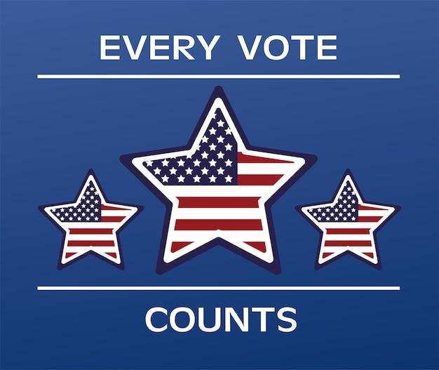 Cartaz do dia das eleições nos eua com bandeira e estrelas