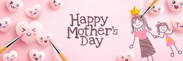 Cartaz do dia das mães com corações bonitos e pintura de emoticon dos desenhos animados sobre fundo rosa. modelo de promoção e compra ou plano de fundo para o conceito de amor e dia das mães