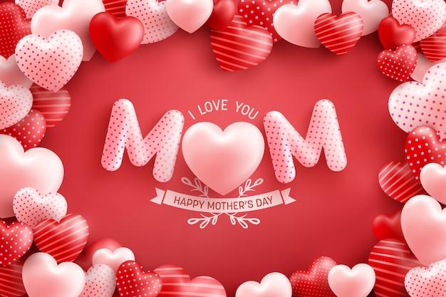 Cartaz do dia das mães ou banner com muitos corações doces e sobre fundo vermelho. modelo de promoção e compra ou plano de fundo para o conceito de amor e dia das mães