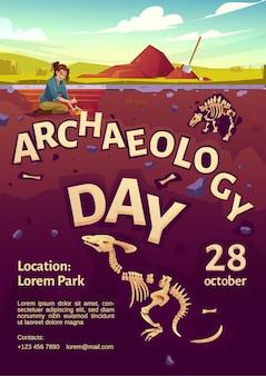 Cartaz do dia de arqueologia com uma mulher exploradora no local da escavação e dinossauros enterrados