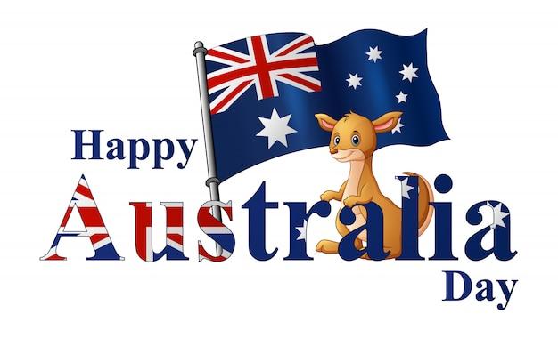 Cartaz do dia de austrália com canguru e bandeira nacional