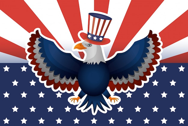 Cartaz do dia de presidentes com eua tophat e águia
