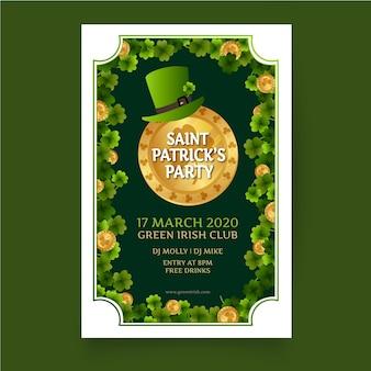 Cartaz do dia de são patrício com chapéu de duende verde