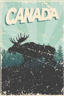 Cartaz do dia do canadá com silhueta de alce