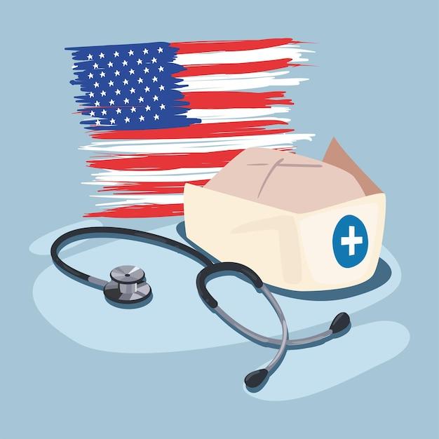 Cartaz do dia do trabalho com acessórios para enfermeira