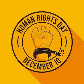 Cartaz do dia dos direitos humanos com a mão quebrando as algemas.