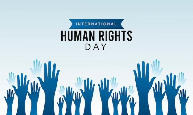 Cartaz do dia dos direitos humanos com desenho de silhueta de mãos para cima