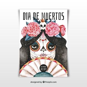 Cartaz do dia dos mortos com aquarela catrina