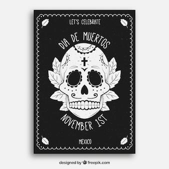 Cartaz do dia dos mortos com caveira desenhada mão