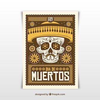 Cartaz do dia dos mortos com caveira e chapéu mexicano