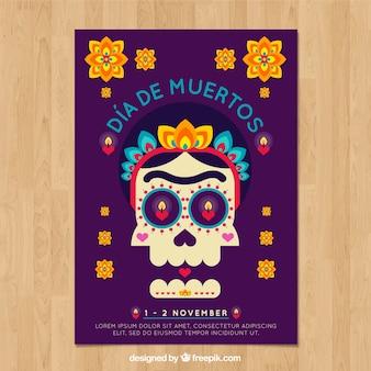 Cartaz do dia dos mortos com crânio clássico