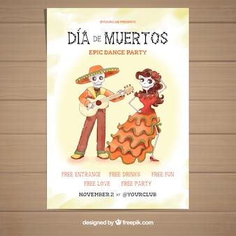 Cartaz do dia dos mortos com dançar jovem