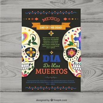Cartaz do dia dos mortos com estilo colorido
